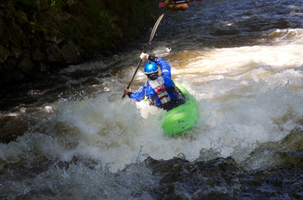Paddling the Wavesport Diesel 70 through Ski Jump on the Tryweryn