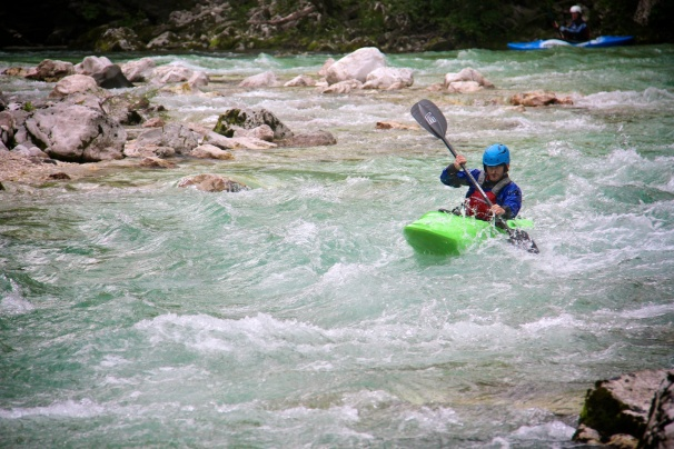 Having fun with the Diesel 70 on the Soča river in Slovenia.
